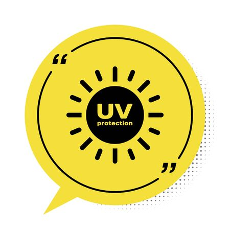 Black UV protection icon isolated on white background. Ultra violet rays radiation. SPF sun sign. Yellow speech bubble symbol. Vector Illustration