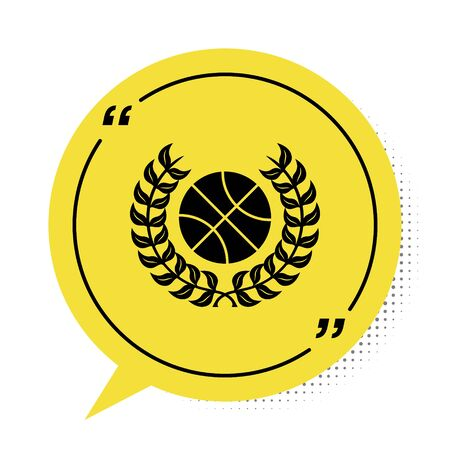 Black Award with basketball ball icon isolated on white background. Laurel wreath. Winner trophy. Championship or competition trophy. Yellow speech bubble symbol. Vector Illustration