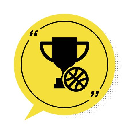 Black Award cup with basketball ball icon isolated on white background. Winner trophy symbol. Championship or competition trophy. Yellow speech bubble symbol. Vector Illustration