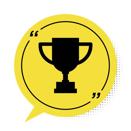 Black Award cup icon isolated on white background. Winner trophy symbol. Championship or competition trophy. Sports achievement. Yellow speech bubble symbol. Vector Illustration Illusztráció