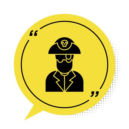 Black Pirate captain icon isolated on white background. Yellow speech bubble symbol. Vector Illustration