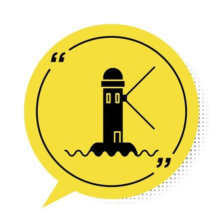 Black Lighthouse icon isolated on white background. Yellow speech bubble symbol. Vector Illustration