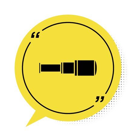 Black Spyglass telescope lens icon isolated on white background. Sailor spyglass. Yellow speech bubble symbol. Vector Illustration