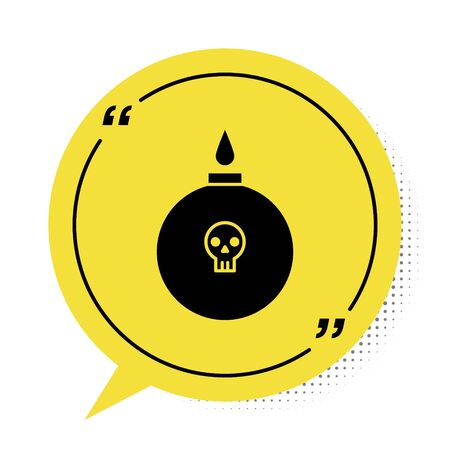 Black Bomb ready to explode icon isolated on white background. Yellow speech bubble symbol. Vector Illustration Çizim