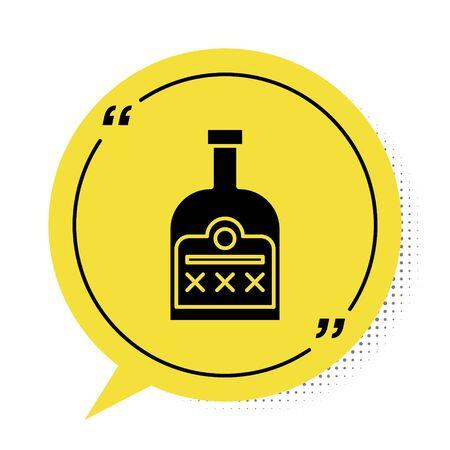 Black Alcohol drink Rum bottle icon isolated on white background. Yellow speech bubble symbol. Vector Illustration Ilustração