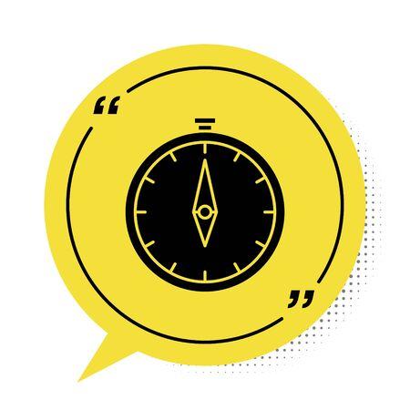 Black Compass icon isolated on white background. Windrose navigation symbol. Wind rose sign. Yellow speech bubble symbol. Vector Illustration Ilustração