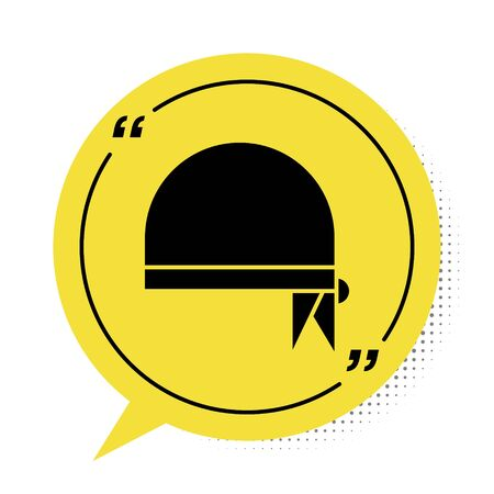 Black Pirate bandana for head icon isolated on white background. Yellow speech bubble symbol. Vector Illustration Фото со стока - 137965443