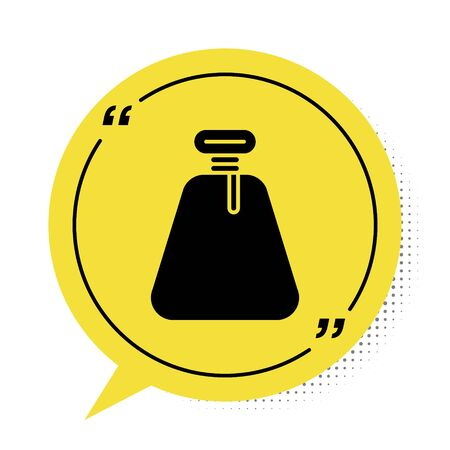 Black Pirate sack icon isolated on white background. Yellow speech bubble symbol. Vector Illustration Иллюстрация