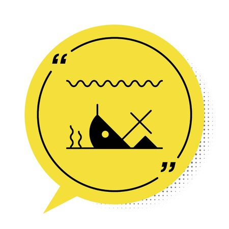 Black Sunken ship at the bottom of the sea icon isolated on white background. Yellow speech bubble symbol. Vector Illustration Ilustracja