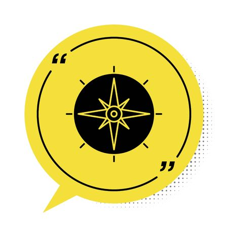Black Wind rose icon isolated on white background. Compass icon for travel. Navigation design. Yellow speech bubble symbol. Vector Illustration