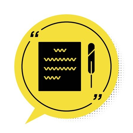 Black Feather pen and paper scroll icon isolated on white background. Yellow speech bubble symbol. Vector Illustration