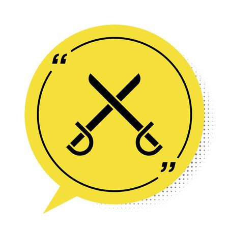 Black Crossed pirate swords icon isolated on white background. Sabre sign. Yellow speech bubble symbol. Vector Illustration