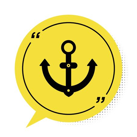 Black Anchor icon isolated on white background. Yellow speech bubble symbol. Vector Illustration