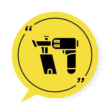 Black Nail gun icon isolated on white background. Yellow speech bubble symbol. Vector Illustration Illustration