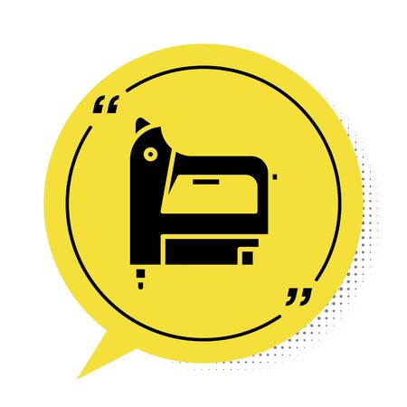 Black Electric construction stapler icon isolated on white background. Working tool. Yellow speech bubble symbol. Vector Illustration