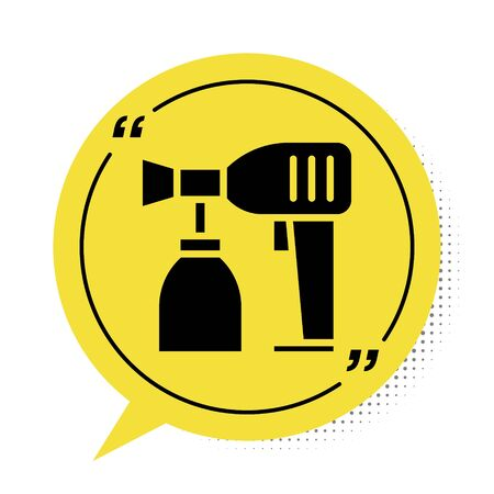 Black Paint spray gun icon isolated on white background. Yellow speech bubble symbol. Vector Illustration