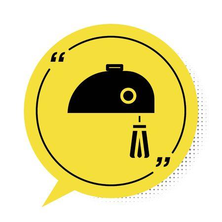 Black Electric mixer icon isolated on white background. Kitchen blender. Yellow speech bubble symbol. Vector Illustration Reklamní fotografie - 137958821