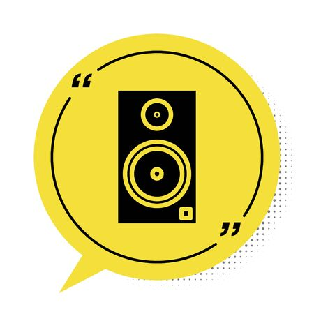 Black Stereo speaker icon isolated on white background. Sound system speakers. Music icon. Musical column speaker bass equipment. Yellow speech bubble symbol. Vector Illustration