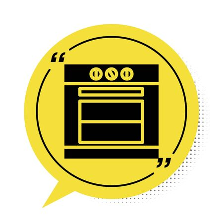 Black Oven icon isolated on white background. Stove gas oven sign. Yellow speech bubble symbol. Vector Illustration