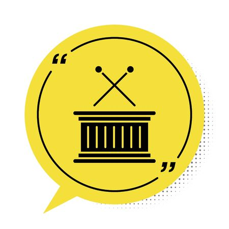 Black Musical instrument drum and drum sticks icon isolated on white background. Yellow speech bubble symbol. Vector Illustration