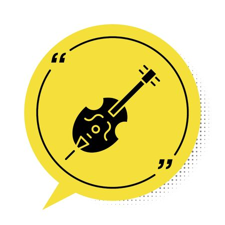 Black Violin icon isolated on white background. Musical instrument. Yellow speech bubble symbol. Vector Illustration
