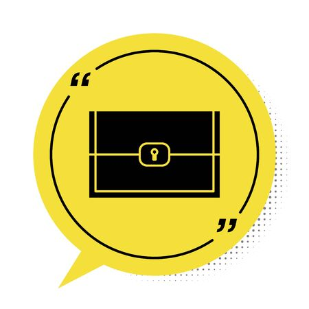 Black Chest for game icon isolated on white background. Yellow speech bubble symbol. Vector Illustration