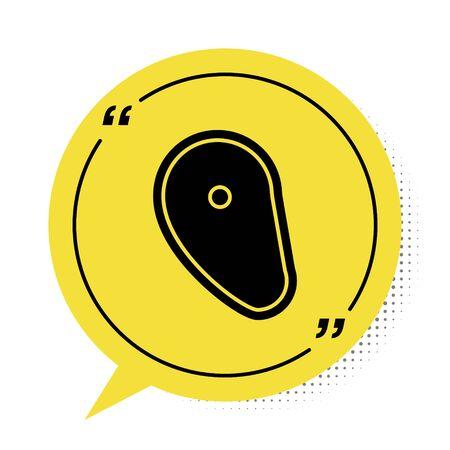 Black Steak meat icon isolated on white background. Yellow speech bubble symbol. Vector Illustration Çizim