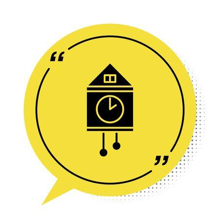 Black Retro wall watch icon isolated on white background. Cuckoo clock sign. Antique pendulum clock. Yellow speech bubble symbol. Vector Illustration Çizim