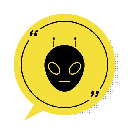 Black Alien icon isolated on white background. Extraterrestrial alien face or head symbol. Yellow speech bubble symbol. Vector Illustration