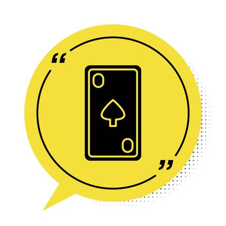 Black Playing card with diamonds symbol icon isolated on white background. Casino gambling. Yellow speech bubble symbol. Vector Illustration 向量圖像