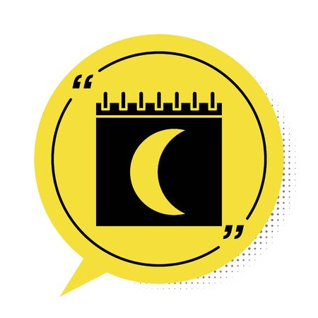 Black Moon phases calendar icon isolated on white background. Yellow speech bubble symbol. Vector Illustration Vettoriali