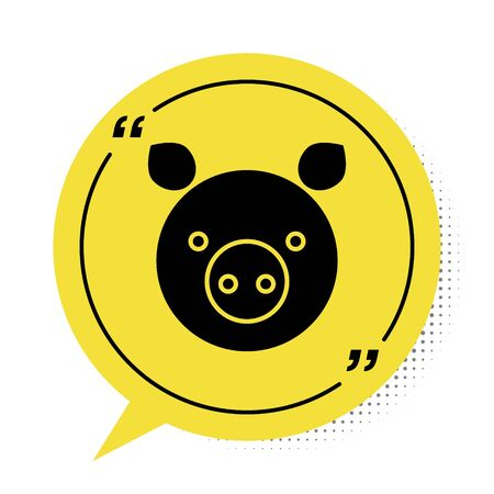 Black Pig zodiac sign icon isolated on white background. Astrological horoscope collection. Yellow speech bubble symbol. Vector Illustration