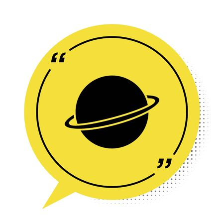 Black Planet Saturn with planetary ring system icon isolated on white background. Yellow speech bubble symbol. Vector Illustration Çizim