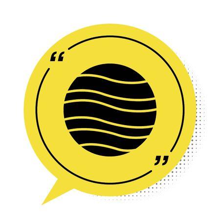 Black Planet Jupiter icon isolated on white background. Yellow speech bubble symbol. Vector Illustration