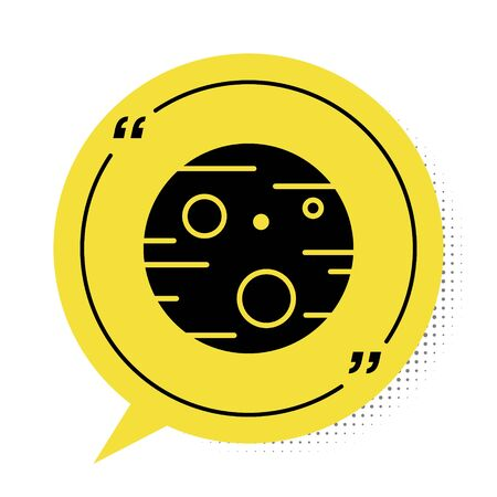 Black Planet Mars icon isolated on white background. Yellow speech bubble symbol. Vector Illustration