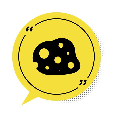 Black Asteroid icon isolated on white background. Yellow speech bubble symbol. Vector Illustration
