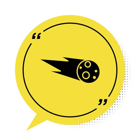 Black Comet falling down fast icon isolated on white background. Yellow speech bubble symbol. Vector Illustration Çizim