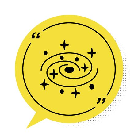 Black Milky way spiral galaxy with stars icon isolated on white background. Yellow speech bubble symbol. Vector Illustration