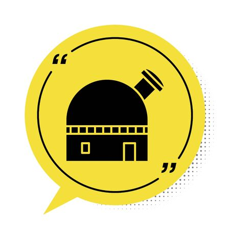 Black Astronomical observatory icon isolated on white background. Yellow speech bubble symbol. Vector Illustration