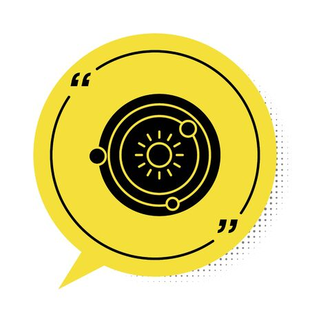 Black Solar system icon isolated on white background. The planets revolve around the star. Yellow speech bubble symbol. Vector Illustration Çizim
