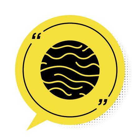 Black Planet Venus icon isolated on white background. Yellow speech bubble symbol. Vector Illustration