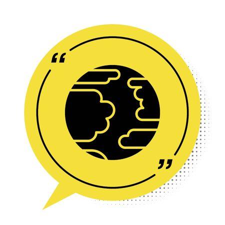 Black Planet Mercury icon isolated on white background. Yellow speech bubble symbol. Vector Illustration Çizim