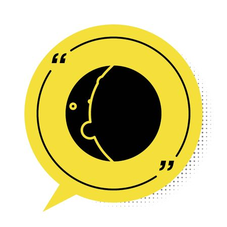 Black Eclipse of the sun icon isolated on white background. Total sonar eclipse. Yellow speech bubble symbol. Vector Illustration