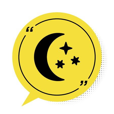 Black Moon and stars icon isolated on white background. Yellow speech bubble symbol. Vector Illustration