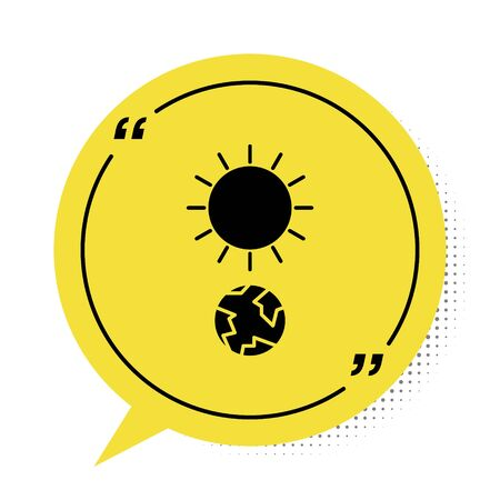 Black Solstice icon isolated on white background. Yellow speech bubble symbol. Vector Illustration