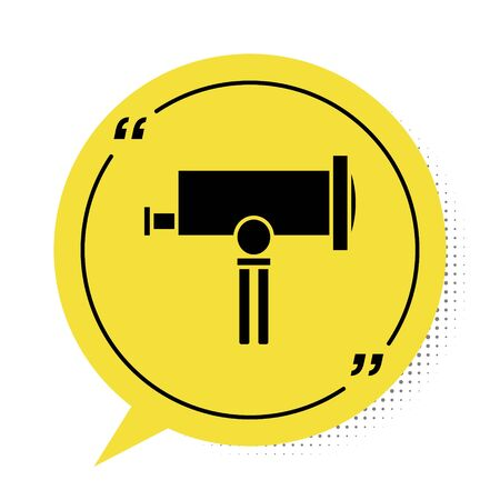 Black Telescope icon isolated on white background. Scientific tool. Education and astronomy element, spyglass and study stars. Yellow speech bubble symbol. Vector Illustration