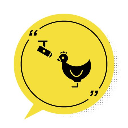 Black Chicken farm and wireless Controlling CCTV security camera icon isolated on white background. Yellow speech bubble symbol. Vector Illustration