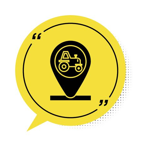 Black Tractor and location icon isolated on white background. Yellow speech bubble symbol. Vector Illustration