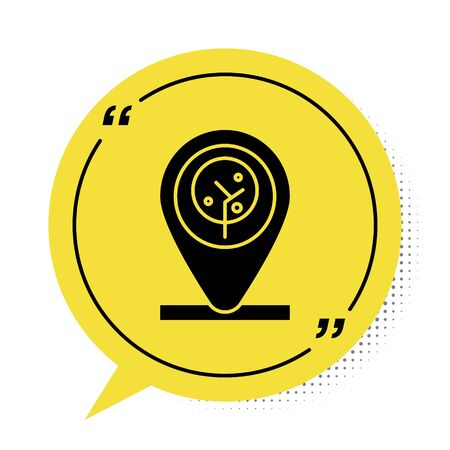 Black Location and tree icon isolated on white background. Yellow speech bubble symbol. Vector Illustration