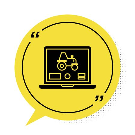 Black Laptop application for control a autonomous tractor on a smart farm icon isolated on white background. Smart agriculture implement. Yellow speech bubble symbol. Vector Illustration